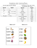 Tarea de Espanol- Spanish homework  Silaba con P y L