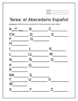 Tarea para El Abecedario Español (Homework for the Spanish