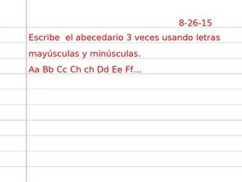 Tarea semanal bilingue Weekly prompt bilingual homework bellringer do now