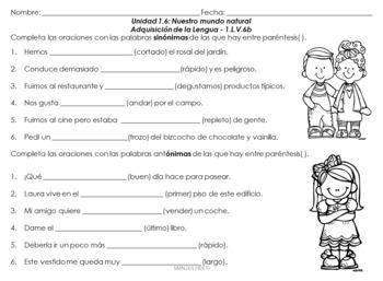 Tareas de desempeño Unidad 1.6 Primer grado Adquisición de la lengua