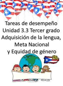 Tareas de desempeño Unidad 3.3 Adquisición de la lengua Tercer grado