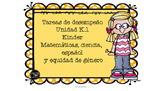 Tareas de desempeño Unidad K.1 Kindergarten