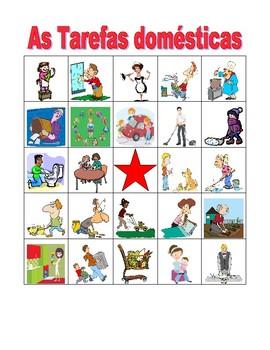 Tarefas domésticas (Chores in Portuguese) Bingo