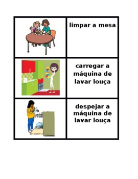 Tarefas domésticas (Chores in Portuguese) Concentration games