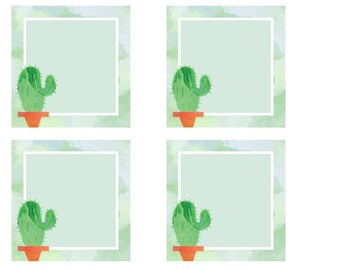Target Adhesive Label Pocket Inserts (Cactus Themed!)