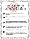 Target Behavior Intervention Plan Tracking Sheet