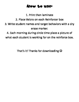 Target Behaviors And Reinforcers chart