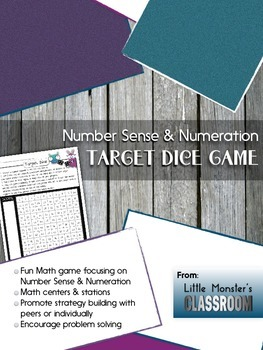 Target Dice Math Center Game - Number Sense & Numeration