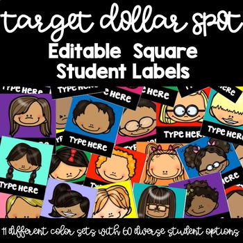 Target Dollar Spot Editable Square Student Labels