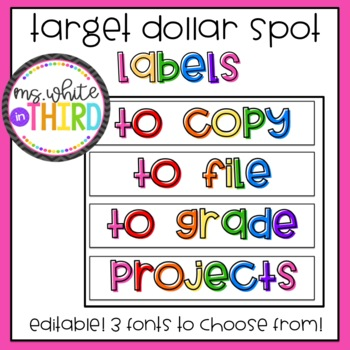 Target Dollar Spot Labels- Rainbow (LONG & Editable!)