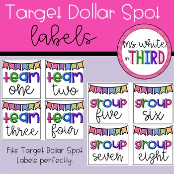 Target Dollar Spot Labels (Square) Group & Team Numbers