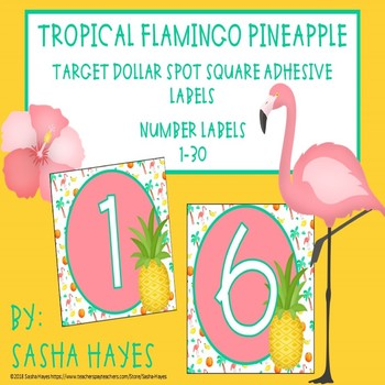 Target Dollar Spot Square Adhesive Labels Tropical Flamingo Pineapple Theme