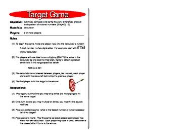 Target Game - Rational Number Games