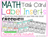 Target Adhesive Label Inserts FREEBIE for MATH TASK CARDS