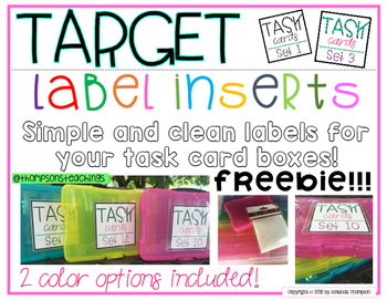 Target Label Inserts- FREEBIE- TASK CARD EDITION