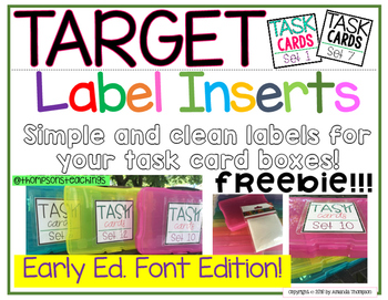 Target Label Inserts- FREEBIE- TASK CARD EDITION- Early Ed