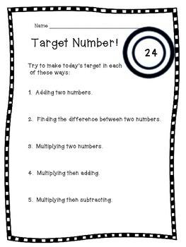 Target Number - 3rd -5th grade Number Sense Routine