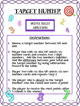 Target Number - A Differentiated Math Strategy Game!