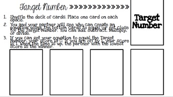 Target Number Math Review Game