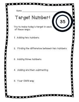 Target Number pack - Number Sense Routine