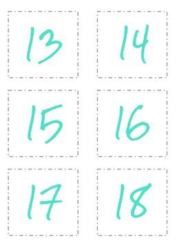 Target Pocket Labels Student Numbers 1-36