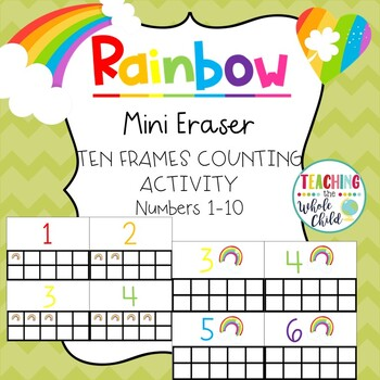 Target Rainbow Mini Eraser Ten Frames Counting Activity