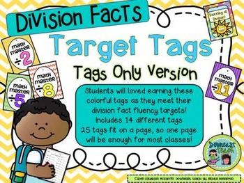 Target Tag Brag Tags: Division Facts: (Tags Only Version)