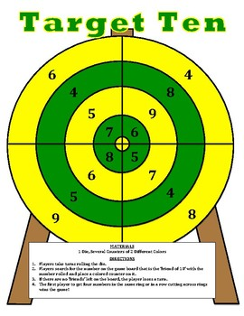 Target Ten - A 2-Player Game to Practice Identifying the Friends of 10