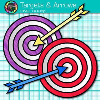 Target and Arrow Clip Art {Rainbow Bullseye Graphics for Learning Target Goals}