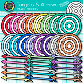 Target and Arrow Clip Art {Rainbow Bullseye Graphics for L