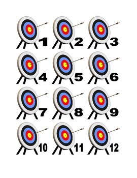 Target and Arrow Numbers for Calendar or Math Activity