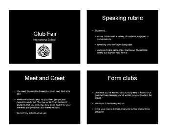 "Target language ""International Club Fair"" class speaking activity"