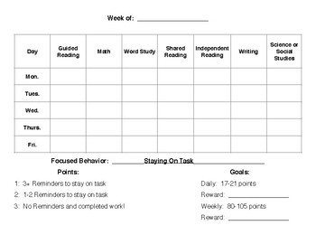 Targeted Behavior Weekly Reward Sheet