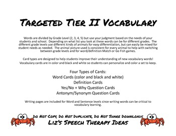 Targeted Tier II Vocabulary for: Second, Third, Fourth, Fifth Grade with animals