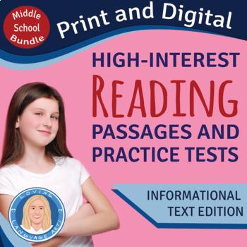 High-Interest Informational Texts & PRACTICE TESTS Middle School Bundle Distance