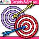 Target & Arrow Clip Art {Rainbow Bullseye Graphics for Lea