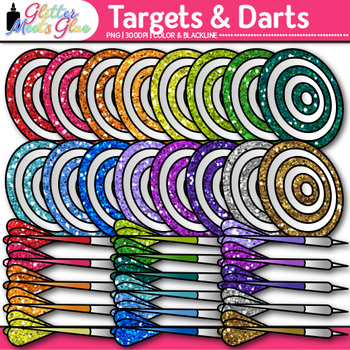 Target Clip Art {Rainbow Bullseye Graphics for Learning Goals & Objectives Use}