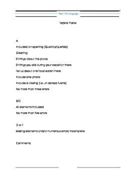 Tarjeta Postal Mini-writing Project and Narration Cheat Sheets