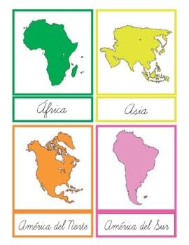 Tarjetas 3P Continentes en Español y letra cursiva