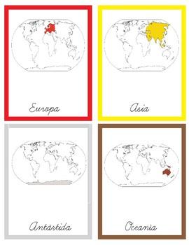 Tarjetas 3P Continentes según su posición