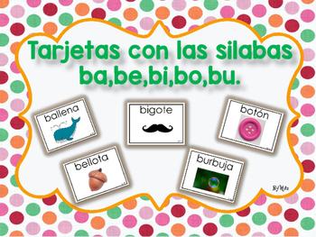 Tarjetas con las Silabas ba,be,bi,bo,bu.