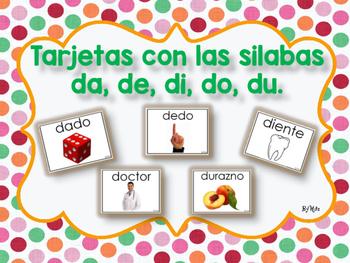 Tarjetas con las Silabas da, de, di, do, du.