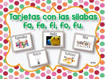 Tarjetas con las Silabas fa, fe, fi, fo, fu.