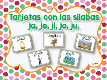 Tarjetas Con Las Silabas Ja Je Ji Jo Ju By Brenda Hernandez