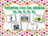 Tarjetas con las Silabas la, le, li, lo, lu.