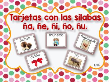 Tarjetas con las Silabas ña, ñe, ñi, ño, ñu.