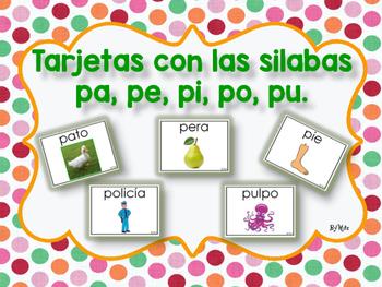 Tarjetas con las Silabas pa, pe, pi, po pu.