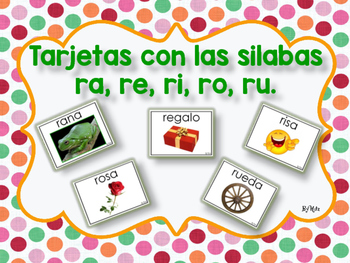 Tarjetas con las Silabas ra, re, ri, ro, ru.