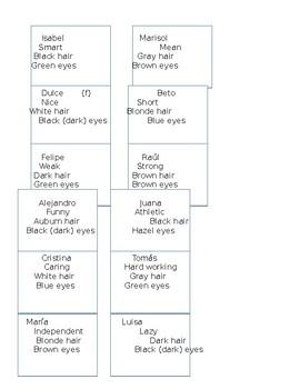 Tarjetas de Adjetivos - Adjective Cards + Hair/Eye Color