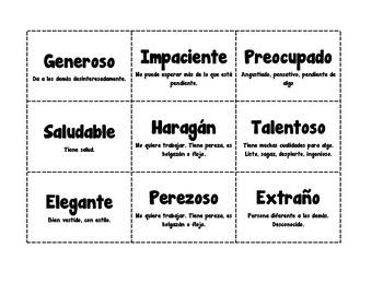 Tarjetas de Caracteristicas del Personaje